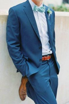 wedding inspiration groom outfit attire for the groom blue suit v/ style me pretty jennifer blair photography Beach Wedding Groom Attire, Beach Groom, Blue Beach Wedding, Beach Attire, Seaside Wedding, Light Blue Suit Wedding, Wedding Summer, Summer Beach Weddings, Sea Foam Wedding