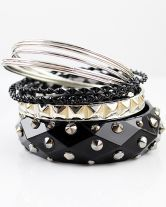Black Multilayer Rivet Bracelet $10.93