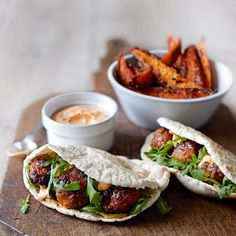 Spicy Pork Meatball Pitas with Harissa Mayo and Sweet Potatoes - These spicy pork meatballs in pittas are perfect finger food and they can also be frozen.