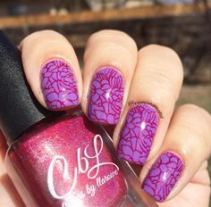 Colors by llarowe Stamping Polish - The Heart Bleeds stamped over OPI A Grape Fit by @camonamona on Instagram.