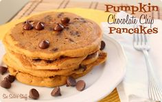 Six Sisters Pumpkin Chocolate Chip Pancakes are the perfect fall breakfast!
