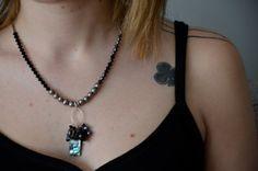 Black Necklace - Abalone Pendant - Black Pearl Necklace - Black...