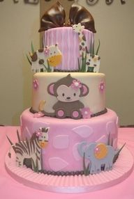 another animal zoo cake, pink, beige, cows, zebra, elephant and monkey. Baby shower cake, three tier