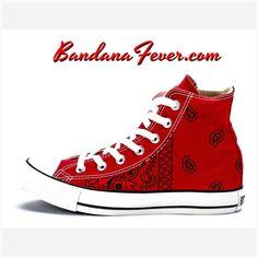 944c15725d9 Bandana Fever Black Bandana Print Custom Red Converse High Top Shoes