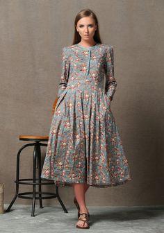 Floral Linen Dress - Fit and Flare Pink & Blue Feminine Elegant Spring Summer Dress with Flowers Long Sleeved C614