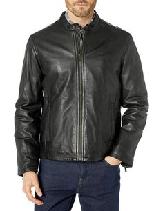 Cole Haan Men's Smooth Leather Classic Moto Jacket - Soomro