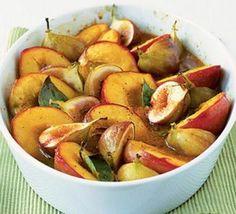 Spice roasted fruits with honey & orange sauce