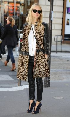 Leopard trench with leather two things I love!! & cute shoes