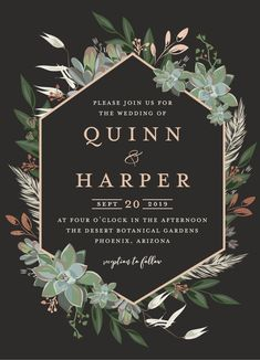 Wedding invitation design featuring a succulent geometric design. Real rose gold foil details. By Minted artist, Susan Moyal. Available on Minted.com.