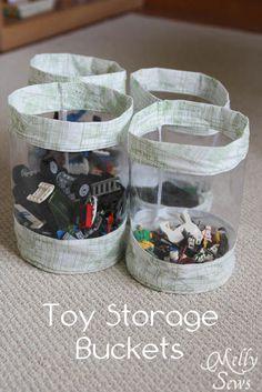 Fabric Storage Bucket Tutorial for Toy Storage - Melly Sews