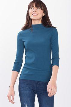 Esprit / Ribbed jersey T-shirt + drawstring collar