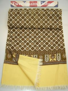 Gifts Ideas for Men: Vintage mens wool scarf cream olive brown @ £15.99