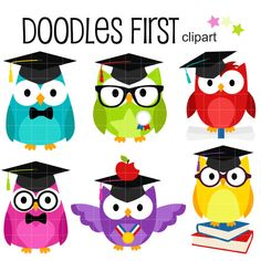 This clip art set includes the following elements.  6 x Cute Graduate Owls  Each clipart illustration is included separately as a high resolution PNG file with a transparent background, a JPG with a white background and as an SVG file.  Each object is provided at a sizes of 5.5 Inches on its longest side. The PNG makes it versatile to scale for any project.  No watermarks will appear on purchased items.  The purchased clip art that will be provided is much higher quality that what you see in…