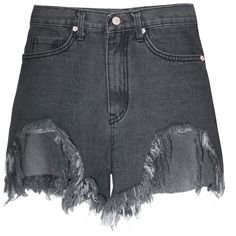 Distressed High Waisted Denim Shorts (€86) ❤ liked on Polyvore featuring shorts, high rise jean shorts, distressed denim shorts, high-waisted jean shorts, distressed jean shorts and high waisted distressed denim shorts