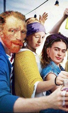 Hipster artists modernized from Van Gogh, Frida Kahlo and Vermeer. Art Memes, Memes Arte, Vincent Van Gogh, Bd Pop Art, Arte Van Gogh, Mona Lisa Parody, Frida Art, Photocollage, Arte Pop