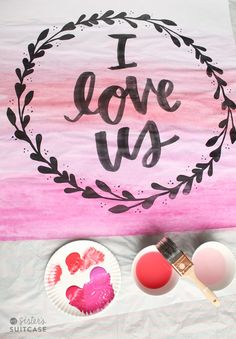 DIY Faux Watercolor Art for Valentine's Day! -- Tatertots and Jello