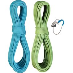 Edelrid Flycatcher Pro Dry Twin Rope Set with Micro Jul Belay Device 6.9mm Assorted Colors 60m