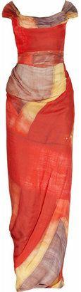 ShopStyle: Vivienne Westwood Gold Label Long Ball Union Jack-print silk-georgette gown