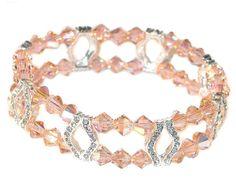 PEACH Crystal Bracelet 2-Strand Silver by CharminglyYoursToo