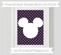 Free Dark Purple Dotted Pattern Mickey Mouse 8x10 Art Print