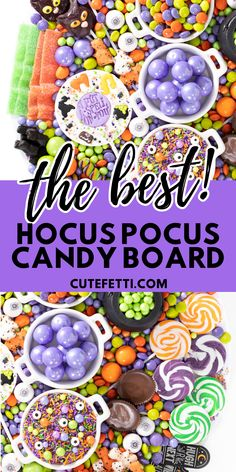 Hocus Pocus Candy Charcuterie Board for Halloween Parties and Movie Nights. Witch candy, black cat candy. Halloween Movie Night, Dessert Halloween, Halloween Goodies, Halloween Food For Party, Holidays Halloween, Halloween Kids, Halloween Treats, Happy Halloween, Halloween Birthday