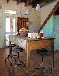 The Cottage Market: Fabulous Farmhouse Tables  This would make a great work table for the studio - tall with storage drawers and large top