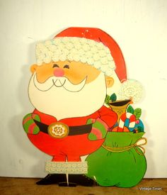 Vintage Santa Claus With Bag Die Cut Christmas Decoration