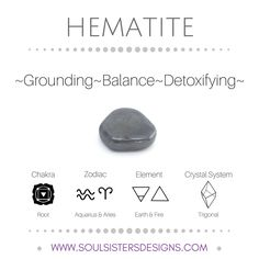 Metaphysical Healing Properties of Hematite, including associated Chakra, Zodiac and Element, along with Crystal System/Lattice to assist you in setting up a Crystal Grid. Go to https:/soulsistersdesigns.com to learn more!