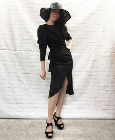 Vintage 70s Does Victorian Bustle Back Mermaid Skirt Draped Ruffled Black Disco Dress S by PopFizzVintage on Etsy