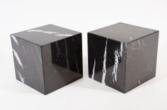 Pair of Negro Marquina Spanish Marble Cube Side Tables by Pace | From a unique collection of antique and modern side tables at http://www.1stdibs.com/furniture/tables/side-tables/