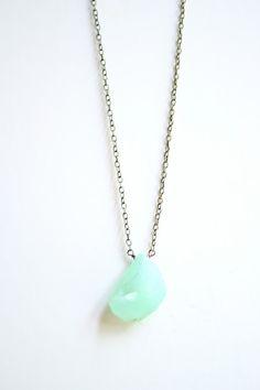 Minimalist MInt Druzy Stone Necklace Antiqued by shoprarebird