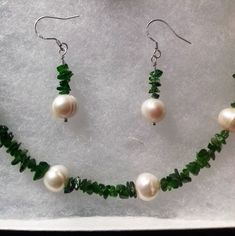 Mermaid Garland - 925 sterling silver Russian Chrome Diopside, Cultured Freshwater Pearl necklace and earrings - stunning and vibrant set Gemstone Jewelry, Sterling Silver Jewelry, Diy Jewelry, Jewellery, Freshwater Pearl Necklaces, Semi Precious Gemstones, Handcrafted Jewelry, Garland, Vibrant