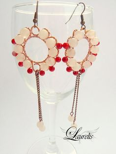 Coral round earrings  rose quartz and oppr by Laurelisbijoux, $19.90