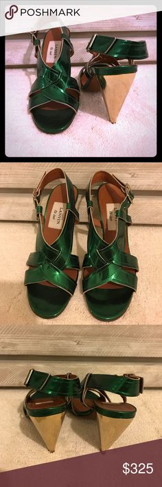 🌟Lanvin Emerald Leather Sandal sz38 Closet Clean-out continues! Lanvin leather strappy sandal in the most perfect shade of metallic emerald green. Gold mirror conic heels approx 4 inches & are surprisingly comfortable. These are perfect for evening or day for the real fashion girl. Never worn; Excellent condition. *original box available on request. Size 38: fits 7.5-8 Lanvin Shoes Heels