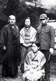 "Zenzaburo Akazawa with Aikido Founder Morihei Ueshiba, 1938. Morihei Ueshiba's wife Hatsu, center. Morihei Ueshiba's daughter Matsuko, kneeling. Matsuko was once married to Morihei Ueshiba's one-time successor Kiyoshi Nakakura. From the blog post ""Budo – Moritaka Ueshiba's 1938 Technical Manual"": http://www.aikidosangenkai.org/blog/budo-moritaka-ueshiba-1938-technical-manual/"