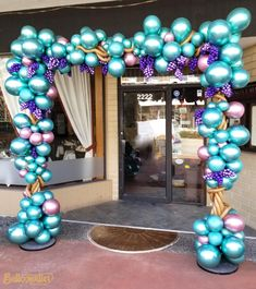 Grape Arch !!!! Balloon Tower, Ballon Arch, Balloon Shop, Balloon Columns, Balloon Garland, Balloon Decorations, Baby Shower Decorations, Balloon Frame, 50th Birthday Balloons