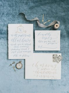 Gray and Blue Calligraphy Invitations | photography by http://www.rachel-may.com/