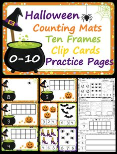 The cutest Halloween counting mats, ten frames, clip cards and practice pages to keep your boys and ghouls having fun while learning!