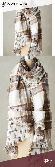 Anthropologie Blanket Scarf in Plaid Print Awesome blanket scarf with a neutral color plaid print. Practical and stylish. Anthropologie Accessories Scarves & Wraps