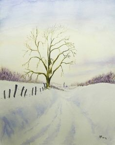 Winters landschap. Aquarel.
