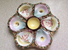 Antique Hand Painted Oyster Plate soon to be available on Mon Tati's Majolica!