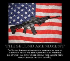Hot Dogs & Guns: The Second Amendment The Second Amendment was written to protect the right of individuals to keep and bear modern firearms. When the constitution was ratified these firearms were muskets; today they are modern rifles like the AR-15.