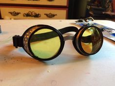 Some plastic steampunk costume goggles in bronze I painted silver and black to use for my Ghostbusters Holtzmann costume.