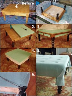 DIY ottoman from coffee table.  This could go so many ways depending on fabrics adn paints and garage sale find base.  Bright glossy paint and graphic print top . . . shabby chic from Grandma's attic . . .  animal print . . . . juvenile designs.  Ooooooooooooh so much fun!