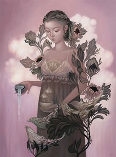 """Amy Sol's """"Garden Gamine"""" at Thinkspace Gallery.Opening on Saturday, April 2016 at Thinkspace Gallery in Culver City, California is the much anticipated solo show from artist Amy Sol, """"Garden. Amy Sol, Avatar, Audrey Kawasaki, Cup Art, Lowbrow Art, Pop Surrealism, Korean Artist, New Artists, Illustrators"""