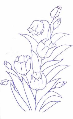 Pintura em tecido - Gráficos, riscos e desenhos grátis - Artesanato passo a passo! Beautiful Flower Drawings, Flower Line Drawings, Flower Sketches, Art Drawings, Cute Embroidery Patterns, Hand Embroidery Designs, Saree Painting, Fabric Painting, Folk Art Flowers