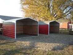 carports for horses Horse Shelter, Horse Stables, Horse Farms, Portable Carport, Horse Barn Plans, Loafing Shed, Run In Shed, Carports, Recliner