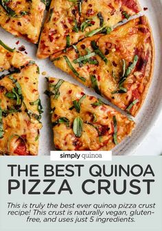 This HEALTHY Quinoa Pizza Crust uses just 5 ingredients, is gluten-free and high protein! No yeast makes this gluten-free pizza recipe easy and quick! Load it up with ALL the veggies for the BEST pizza ever. Healthy, gluten-free + naturally vegan too. Pizza Recipes, Cooking Recipes, Healthy Recipes, Healthy Food, Dinner Recipes, Quinoa Pizza Crust, Vegan Pizza, Protein Pizza, High Protein