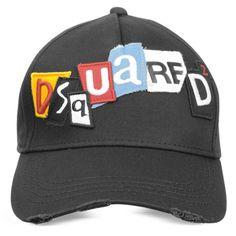7dc8f1214db8 DSquared2 Signature Black Cotton Baseball Cap (€110) ❤ liked on Polyvore  featuring men s fashion