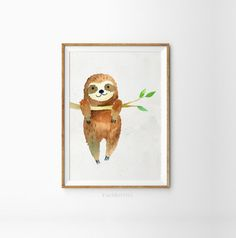 Sloth print  Sloth wall art  Hanging sloth art  Kids room
